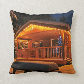 Beautiful Christmas Lights on Log Cabin in Snow Throw Pillows