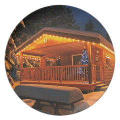 Beautiful Christmas Lights on Log Cabin in Snow Party Plates