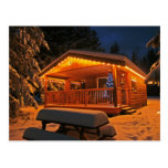 Beautiful Christmas Lights on Log Cabin in Snow Postcard