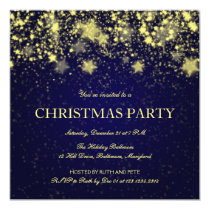 Beautiful Christmas Party Shining Stars Blue Invitation