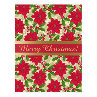 Beautiful Christmas Poinsettia, Holly, Pine branch Postcard