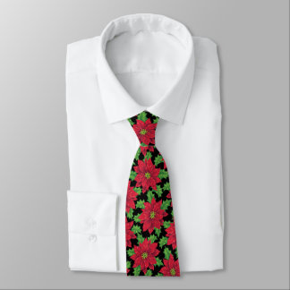 Beautiful Christmas Poinsettia pattern on black Neck Tie