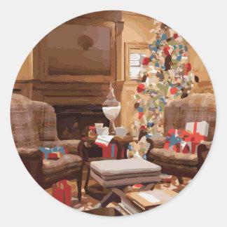 Beautiful Christmas Tree Living Room Scene Classic Round Sticker