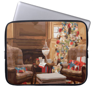 Beautiful Christmas Tree Living Room Scene Laptop Computer Sleeves