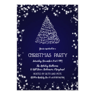 Beautiful Christmas Tree | Stars | Party Blue Card