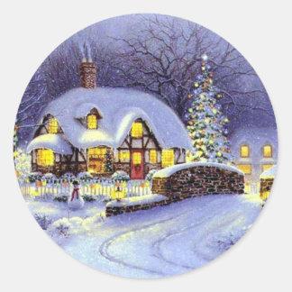 Beautiful Christmas Winter Cottage Classic Round Sticker