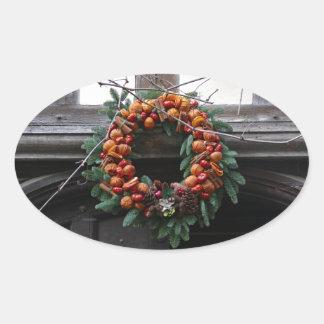 Beautiful! Christmas wreath - Pro photo Oval Stickers