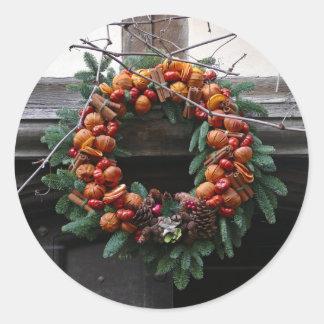 Beautiful! Christmas wreath - Pro photo Round Stickers