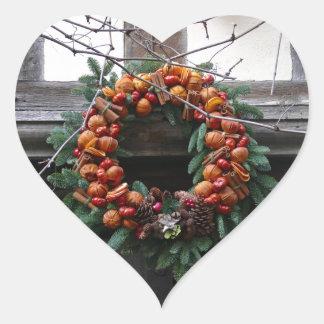 Beautiful! Christmas wreath - Pro photo Heart Sticker
