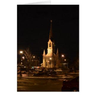 Beautiful Church Night Scene Card