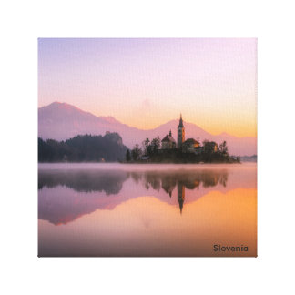 Beautiful Church on Island in Lake Bled Slovenia Canvas Print