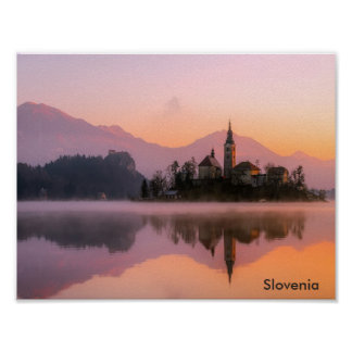 Beautiful Church on Island in Lake Bled Slovenia Poster