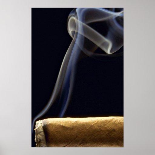 Beautiful Cigar with smoke Posters