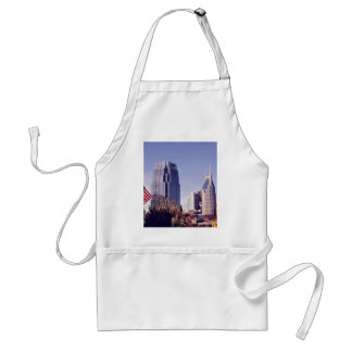 Beautiful cityscape with Fluttering American flag Adult Apron