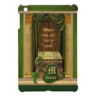 Beautiful Classical Library Old Books Green Drapes iPad Mini Cover