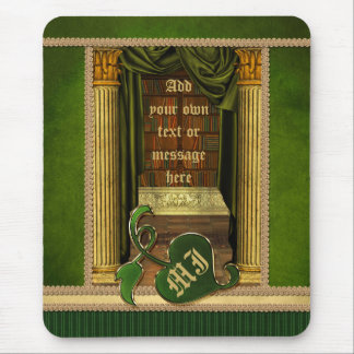 Beautiful Classical Library Old Books Green Drapes Mouse Pad