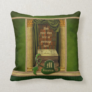 Beautiful Classical Library Old Books Green Drapes Throw Pillows