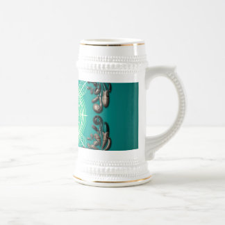 Beautiful clef with decorative floral elements 18 oz beer stein