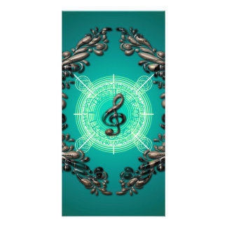 Beautiful clef with decorative floral elements photo card