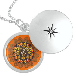 Beautiful clef with elegant, decorative elements round locket necklace