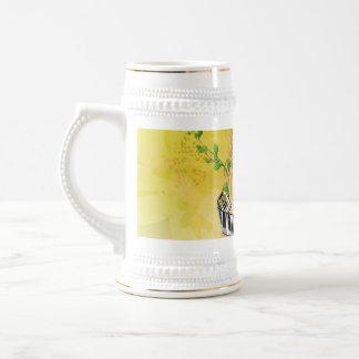 Beautiful clef with piano,flowers and leaves 18 oz beer stein