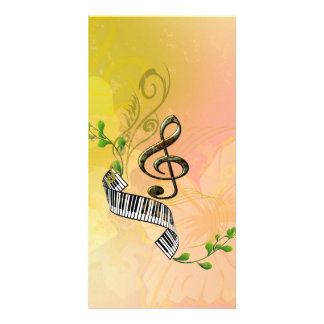 Beautiful clef with piano,flowers and leaves photo card