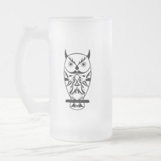 Beautiful Clever Owl Frosted Glass Beer Mug