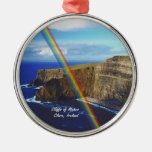 Beautiful Cliffs of Moher Design #2 Round Metal Christmas Ornament