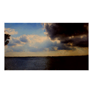 Beautiful Clouds & Lake Oil Painting on Canvas Poster