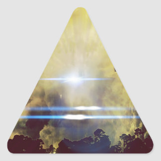 Beautiful Clouds On Planet  Triangle Sticker