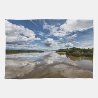 Beautiful clouds over river, reflection in water hand towel