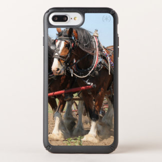 Beautiful clydesdale horses ploughing speck iPhone case