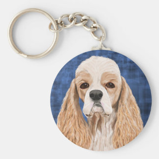 Beautiful Cocker Spaniel, Brown Creme Coat on Blue Basic Round Button Keychain