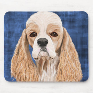 Beautiful Cocker Spaniel, Brown Creme Coat on Blue Mouse Pad