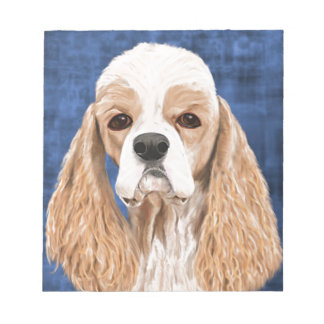 Beautiful Cocker Spaniel, Brown Creme Coat on Blue Note Pad