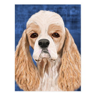 Beautiful Cocker Spaniel, Brown Creme Coat on Blue Postcard