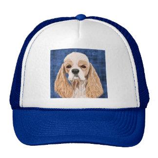 Beautiful Cocker Spaniel, Brown Creme Coat on Blue Trucker Hat