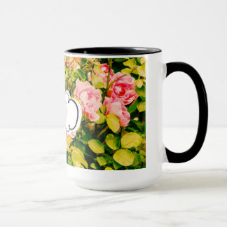Beautiful coffee mug with pink roses and your name