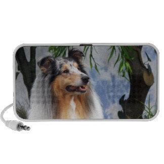 Beautiful Collie dog blue merle doodle speakers