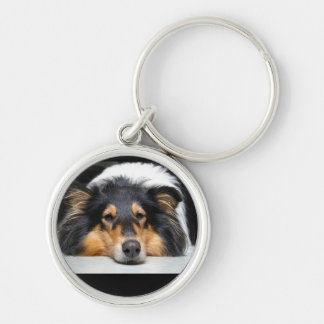 Beautiful Collie dog nose tri color keychain, gift Silver-Colored Round Keychain