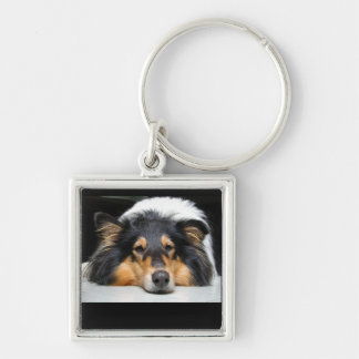 Beautiful Collie dog nose tri color keychain, gift Silver-Colored Square Keychain