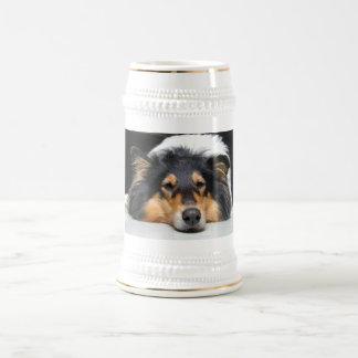 Beautiful Collie dog nose tri color stein tankard Mugs