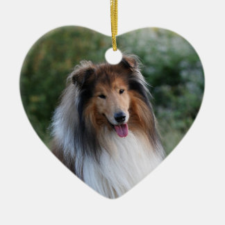 Beautiful Collie dog portrait heart ornament, gift Ceramic Ornament