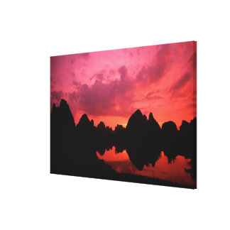 Beautiful color at sunset of limestone mountains canvas print
