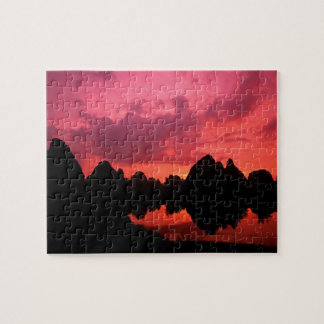 Beautiful color at sunset of limestone mountains jigsaw puzzle