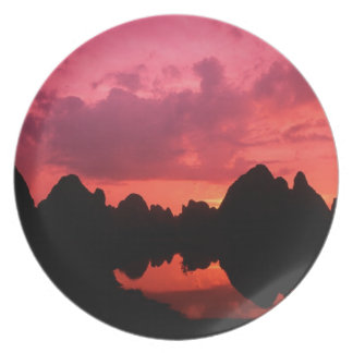 Beautiful color at sunset of limestone mountains party plate