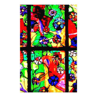 Beautiful color display of a stained glass window stationery