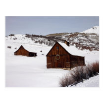 Beautiful Colorado Barns with Snow Postcard