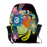 Beautiful Colorful Abstract Flower & 3D Stars Messenger Bags
