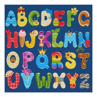 Beautiful Colorful Alphabet for Kids, Baby's Room Poster